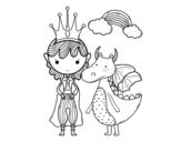 <span class='hidden-xs'>Coloriage de </span>Prince et dragon à colorier