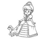 <span class='hidden-xs'>Coloriage de </span>Princesse avec petit chien à colorier