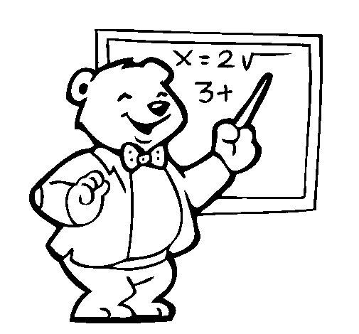 Coloriage de Professeur ours pour Colorier