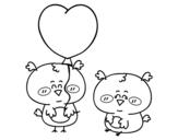 Dibujo de Quelques petits oiseaux amoureux