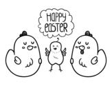 <span class='hidden-xs'>Coloriage de </span>Quelques poules da Pâques à colorier
