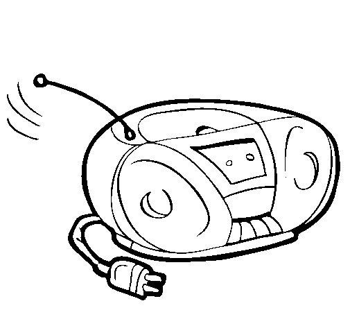 Coloriage de Radio cassette pour Colorier