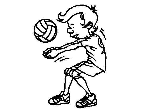 Coloriage De Ramassez Volley-ball Pour Colorier