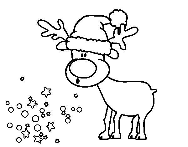 Coloriage de renne avec bouchon pour colorier - Coloriage de renne ...