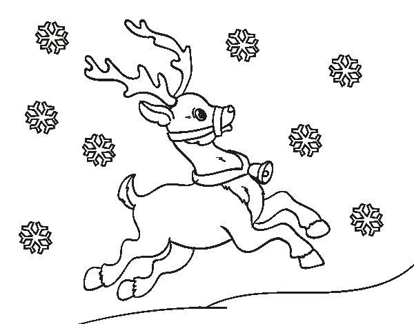 Coloriage de Renne de Noël pour Colorier
