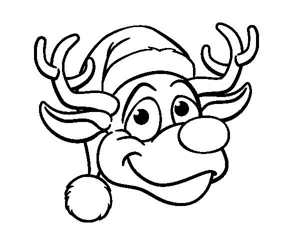 Coloriage de Renne face Rudolph pour Colorier