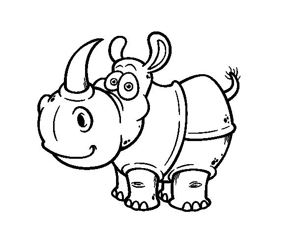 Coloriage de rhinoc ros de java pour colorier - Rhinoceros dessin ...