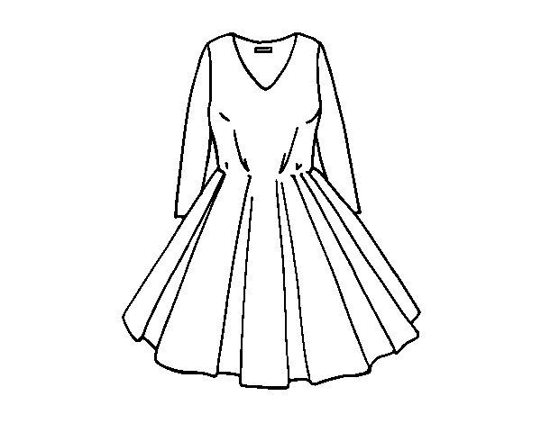 Coloriage De Robe Avec Jupe Complete Pour Colorier