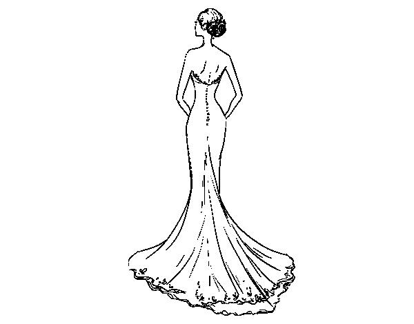 Coloriage de robe de mari e avec queue pour colorier - Robe de mariee bustier transparent ...
