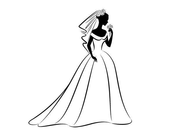 Coloriage de robe de mari e et voile pour colorier - Robe de mariee bustier transparent ...