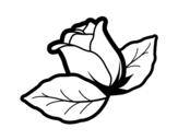 <span class='hidden-xs'>Coloriage de </span>Rose avec des feuilles à colorier