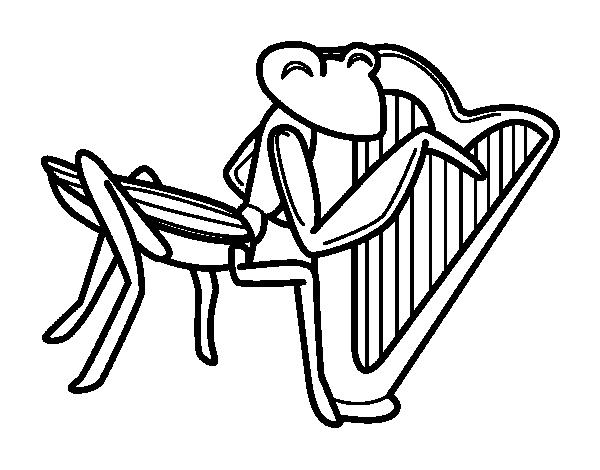 Coloriage de sauterelle avec harpe pour colorier - Sauterelle dessin ...