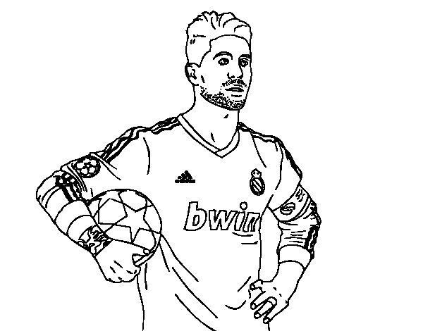 Coloriage de Sergio Ramos du Real Madrid pour Colorier