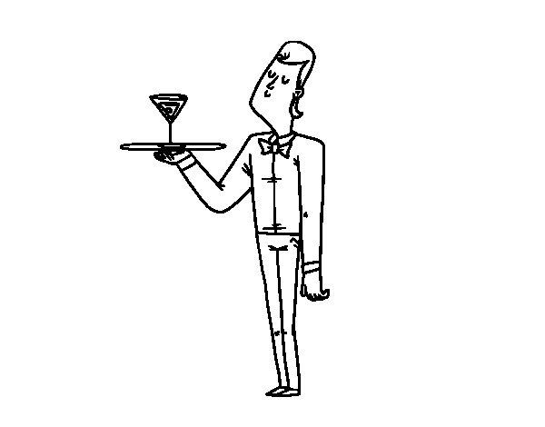 Coloriage de Serveur avec cocktail pour Colorier