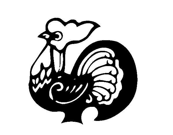 Coloriage de Signe du Coq pour Colorier