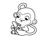 Dibujo de Singe à la banane