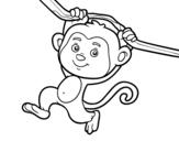 Dibujo de Singe accroché à une branche