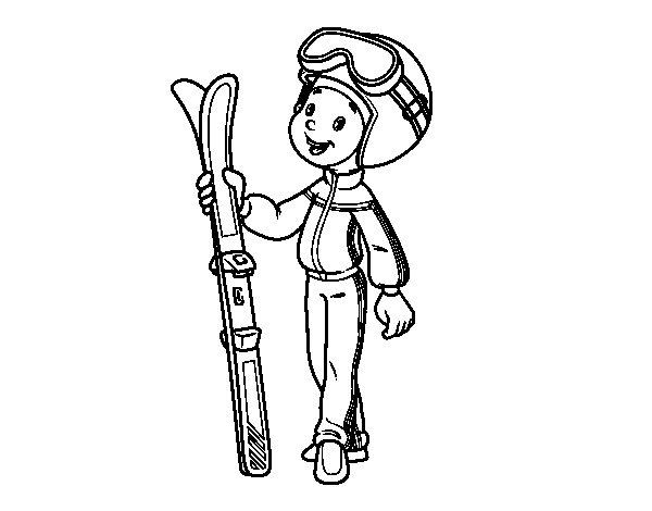 Coloriage de Ski pour Colorier