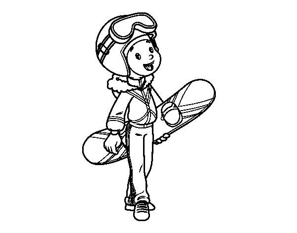 Coloriage de Snowboard fille pour Colorier