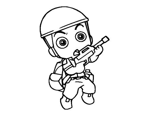 Coloriage de Soldat militaire pour Colorier
