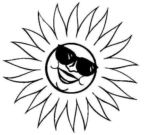 Coloriage de Soleil avec des lunettes de soleil pour Colorier
