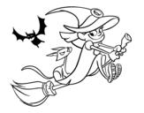 <span class='hidden-xs'>Coloriage de </span>Sorcière et chat noir volant à colorier