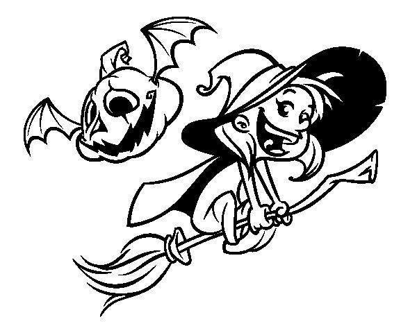 Coloriage de Sorcière et citrouille d'Halloween pour Colorier