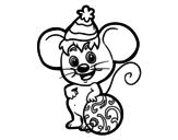 Dibujo de Souris avec Chapeau de Noël