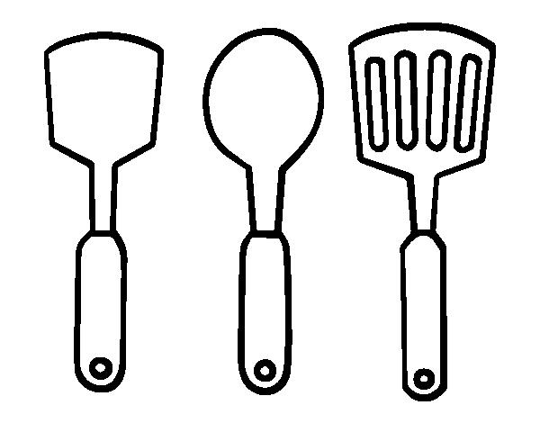 Coloriage de spatules pour colorier for La cocina de dibujos pdf