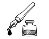 Dibujo de Stylo-plume et encrier