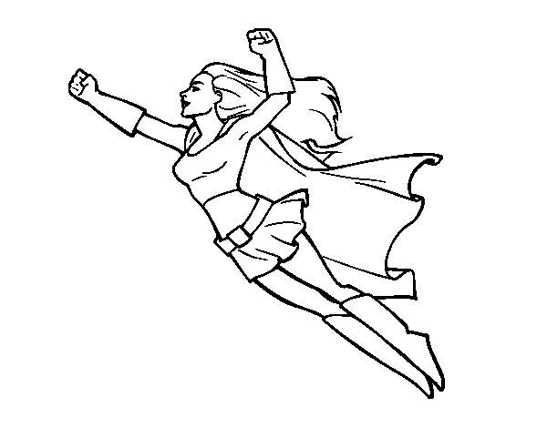 Coloriage De Super Girl Volant Pour Colorier