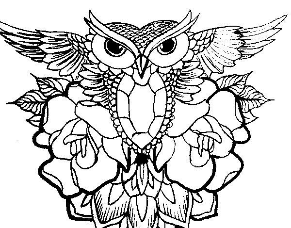 Coloriage de Symbole de hibou pour Colorier