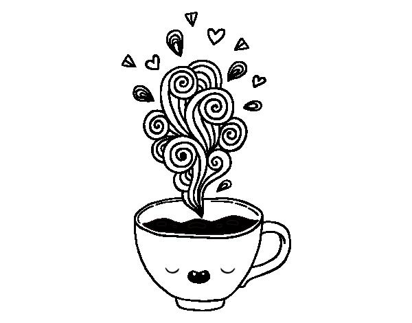 Coloriage de tasse de caf kawaii pour colorier - Tasse de cafe dessin ...