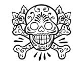 <span class='hidden-xs'>Coloriage de </span>Tatouage de tête de mort à colorier