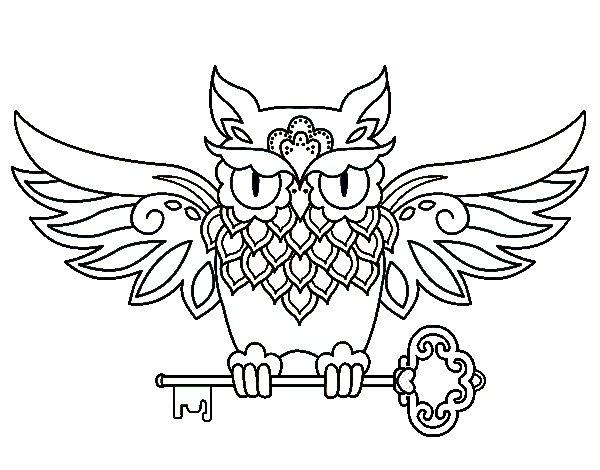 Coloriage de Tatouage hibou avec clé pour Colorier