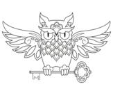 <span class='hidden-xs'>Coloriage de </span>Tatouage hibou avec clé à colorier