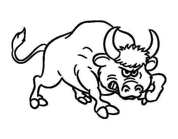 Coloriage de taureau violent pour colorier - Dessin de toro ...