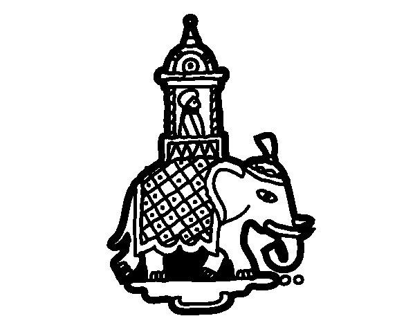 Coloriage de Taxi-éléphant pour Colorier