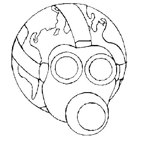 Coloriage de Terre avec masque à gaz pour Colorier