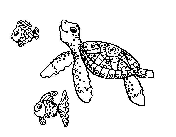 Coloriage de Tortue de mer avec les poissons pour Colorier