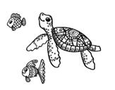 <span class='hidden-xs'>Coloriage de </span>Tortue de mer avec les poissons à colorier