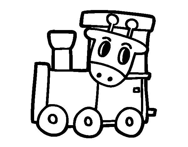 Coloriage de Train avec girafe pour Colorier