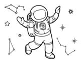<span class='hidden-xs'>Coloriage de </span>Un astronauta en el espacio estelar à colorier