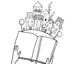 Dibujo de Un conte dans la ville