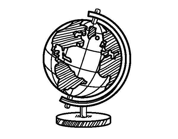 Coloriage de Un globe planétaire pour Colorier
