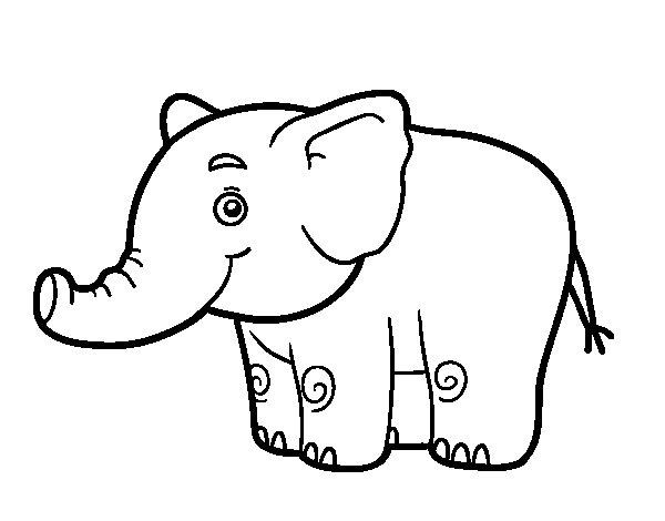 Coloriage de Un petit éléphant pour Colorier