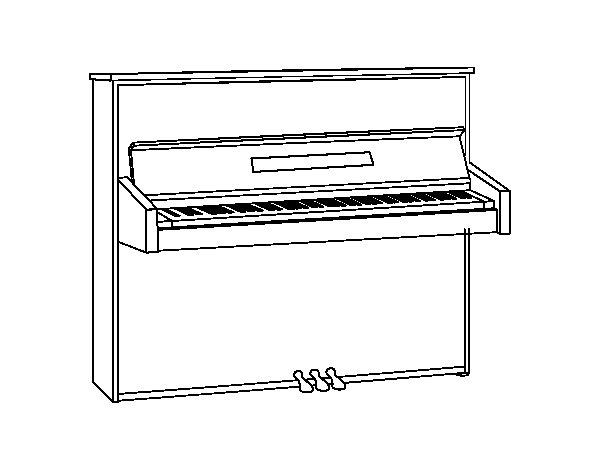 Coloriage de Un piano droit pour Colorier