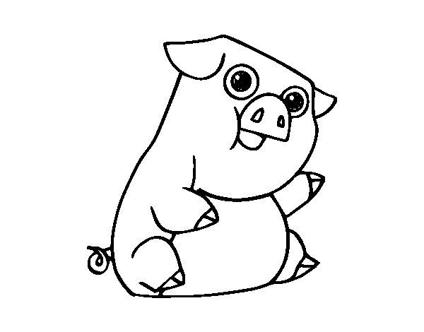 Coloriage de Un porc pour Colorier
