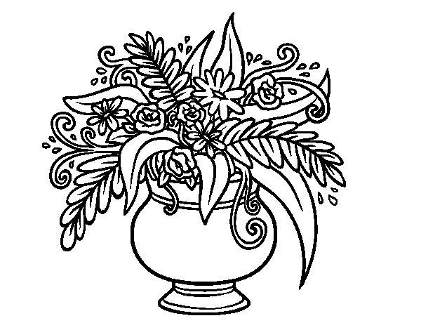 Coloriage de Un vase avec des fleurs pour Colorier