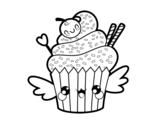 <span class='hidden-xs'>Coloriage de </span>Une Cupcake kawaii à colorier